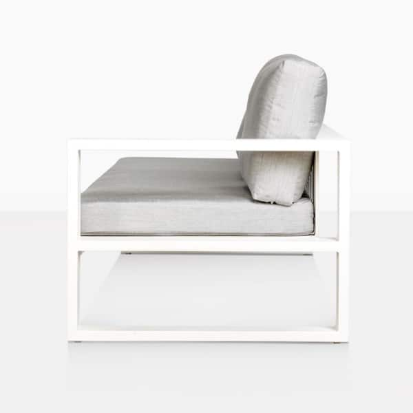 mykonos outdoor aluminum left arm loveseat in white side view