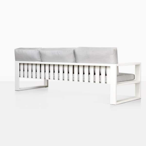 mykonos aluminum outdoor right arm sofa in white rear view