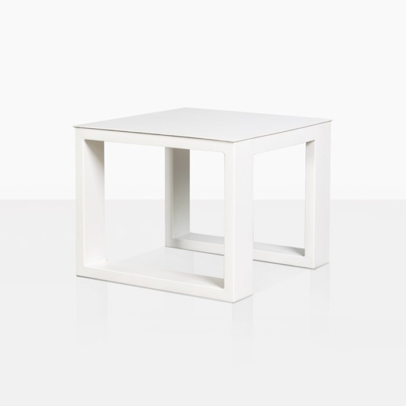 mykonos aluminum side table in white
