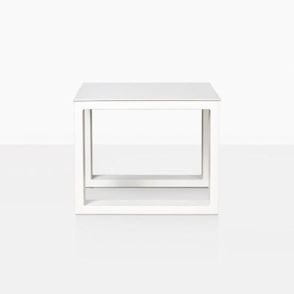 mykonos aluminum side table in white side view
