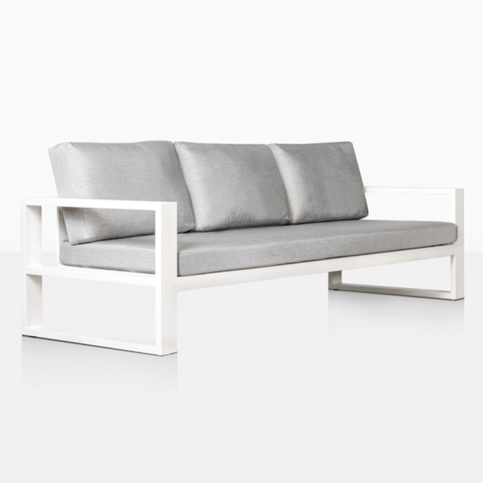 mykonos outdoor aluminum sofa in white