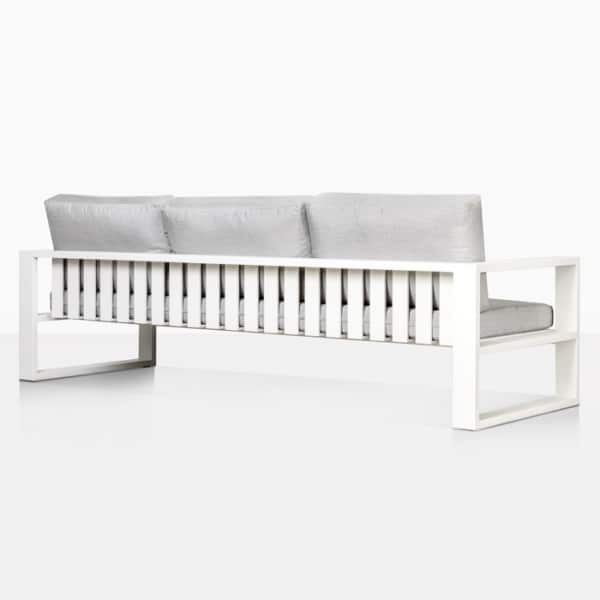 mykonos outdoor aluminum sofa in white rear view