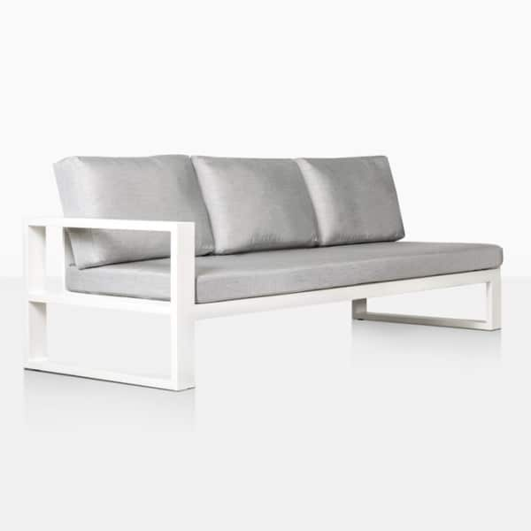 mykonos aluminum outdoor right arm sofa in white