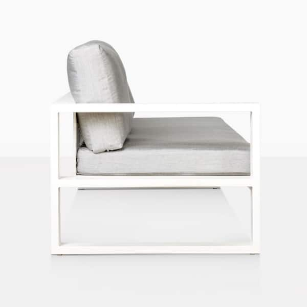 mykonos aluminum outdoor right arm sofa in white side view