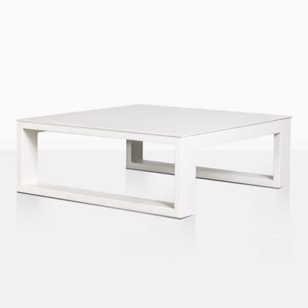 mykonos square aluminum coffee table in white