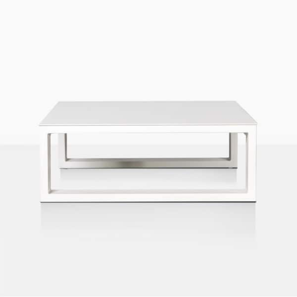 mykonos square aluminum coffee table in white side view