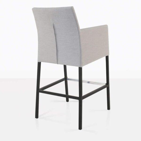 paddington aluminum bar stool in grey rear view