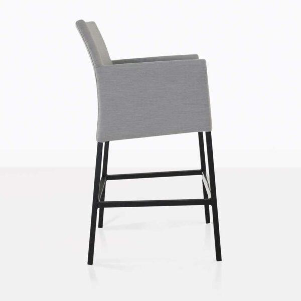 paddington aluminum bar stool in grey side view