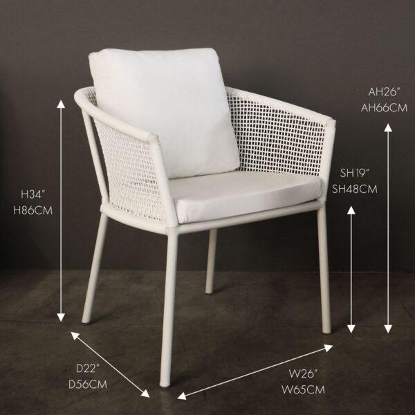 Washington wicker white dining chair