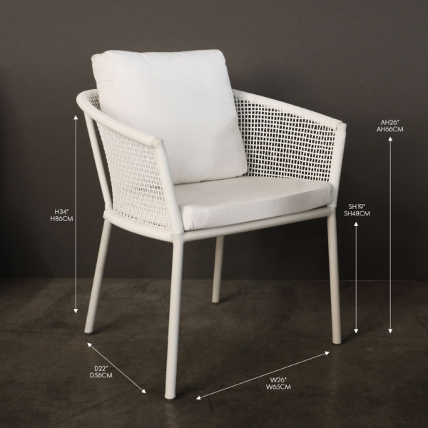 washington white wicker dining chair