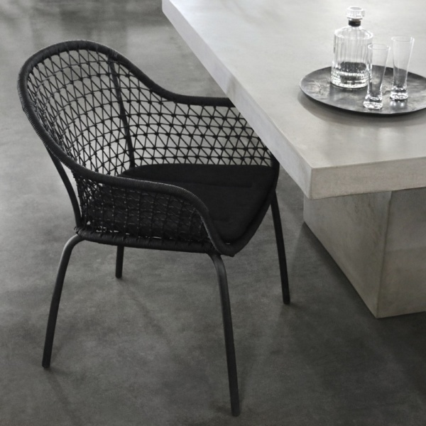 Libby Rope Dining Chair With Concrete Table