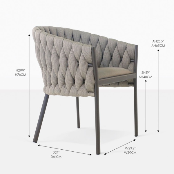 Bianca woven outdoor dining chair
