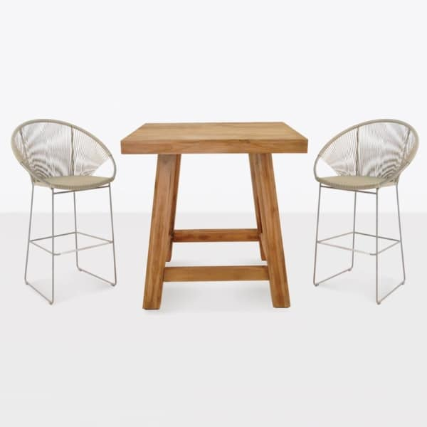 Blok Reclaimed Teak And Wickder Bar Set