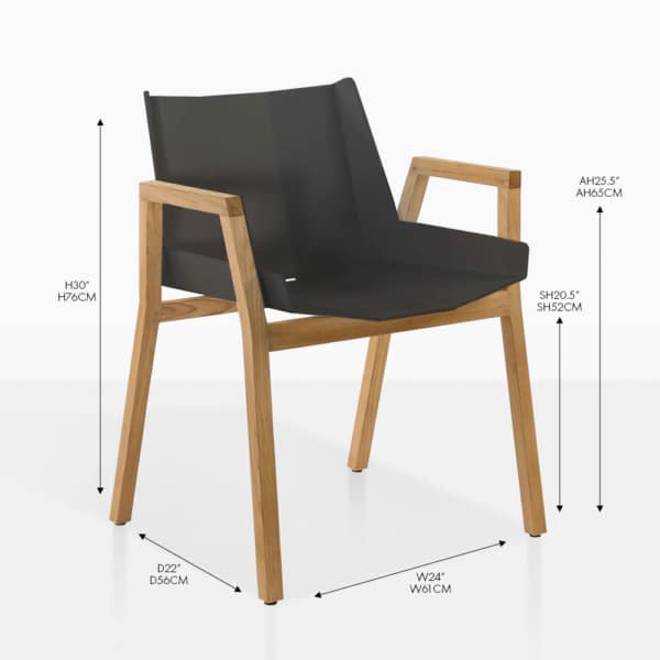 Elements black teak and aluminum dining arm chair