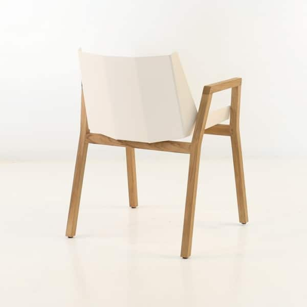 elements dining arm chair in white rear view