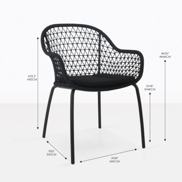 libby black rope dining chair