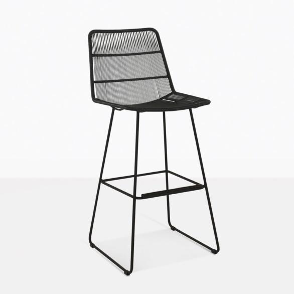 nairobi outdoor wicker bar stool in black
