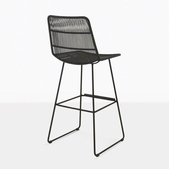 nairobi outdoor wicker bar stool in black rear view