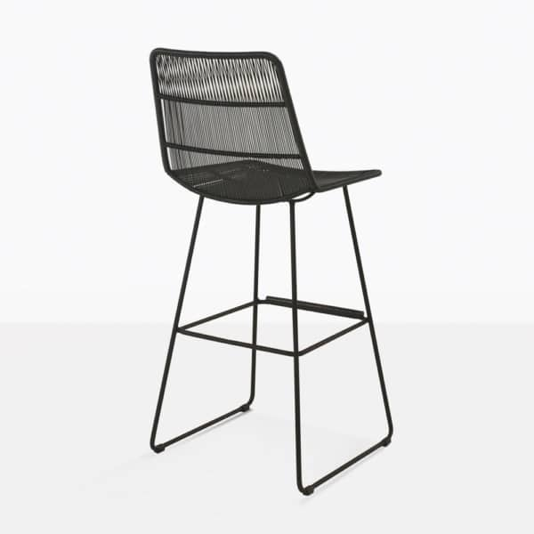 nairobi outdoor wicker bar stool in black rear view