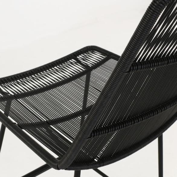 nairobi outdoor wicker bar stool in black closeup view