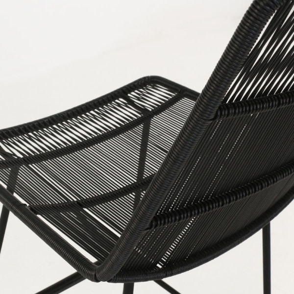 nairobi outdoor wicker bar stool in black closeup view