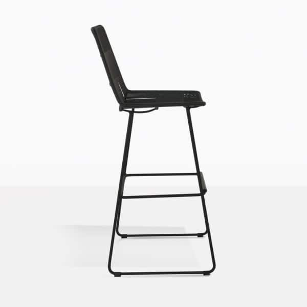 nairobi outdoor wicker bar stool in black side view
