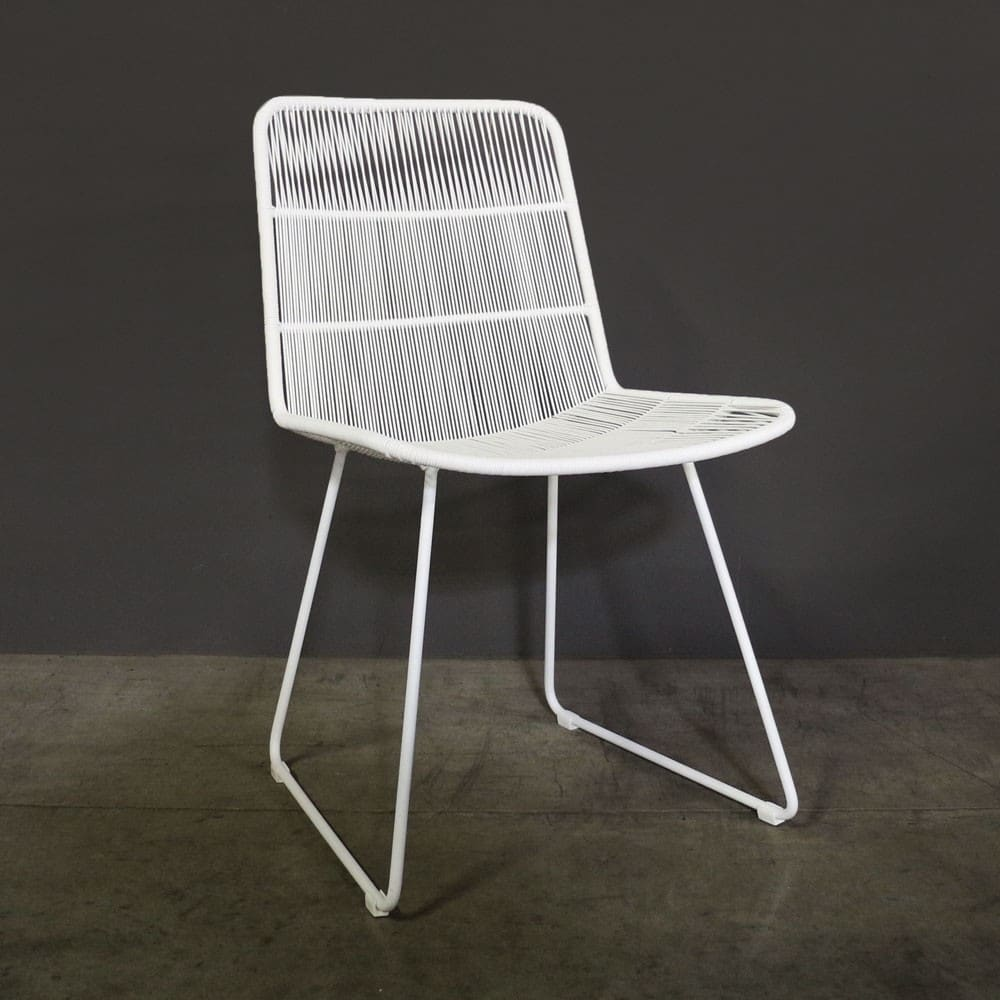 Nairobi woven dining side chair in white café seating teak warehouse