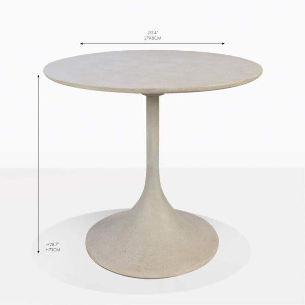 orgain grey round concrete bistro table