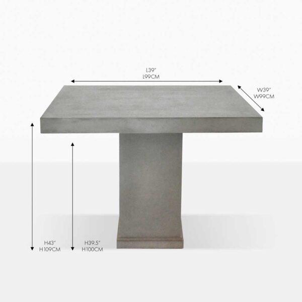 Raw concrete square table