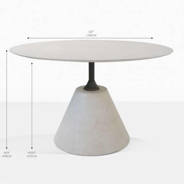 cee cee round concrete grey dining table