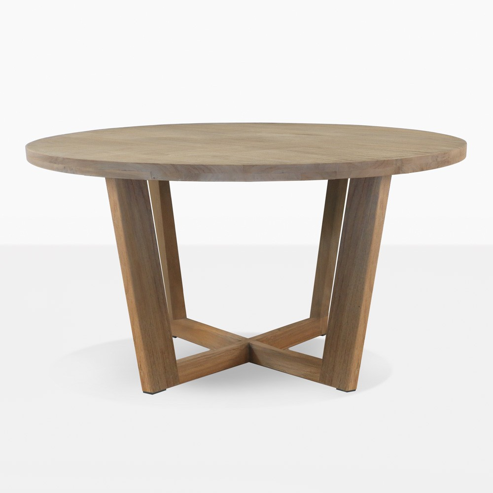 Coco teak round outdoor dining table patio furniture for Outdoor teak dining table