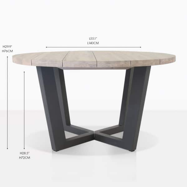 Jimmy round teak outdoor dining table