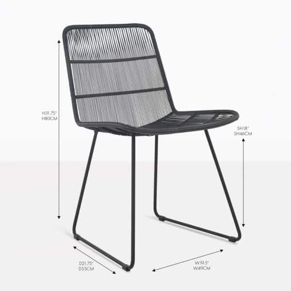 nairobi black wicker side dining chair