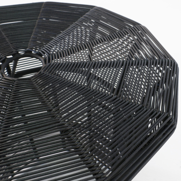 Poppi Black Wicker Table Closeup