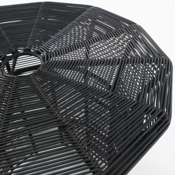 Poppi Black Wicker Table Closeup