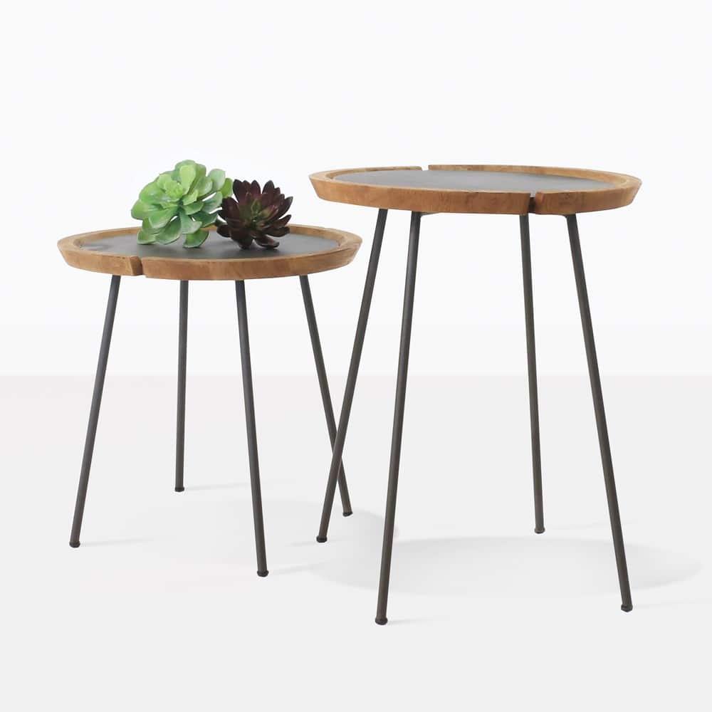 Sheeba teak aluminum side tables outdoor furniture for Teak side table outdoor