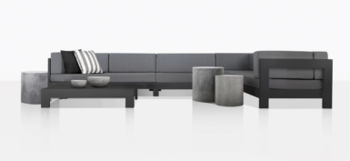 Coast Aluminum Sectional Sofa With Accent Tables in black and grey
