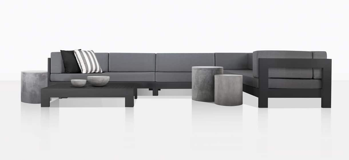 Coast Aluminum Sectional Sofa With Accent Tables
