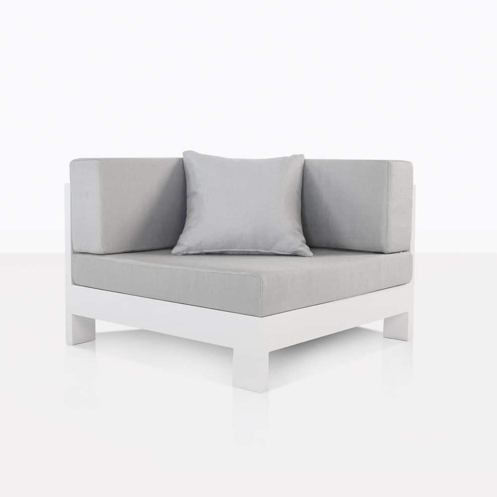 Coast White Aluminum Outdoor Corner Sectional Chair | Teak Warehouse