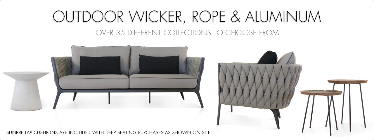 Outdoor Wicker, Rope and Aluminum Furniture