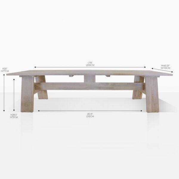 bradford teak trestle dining table