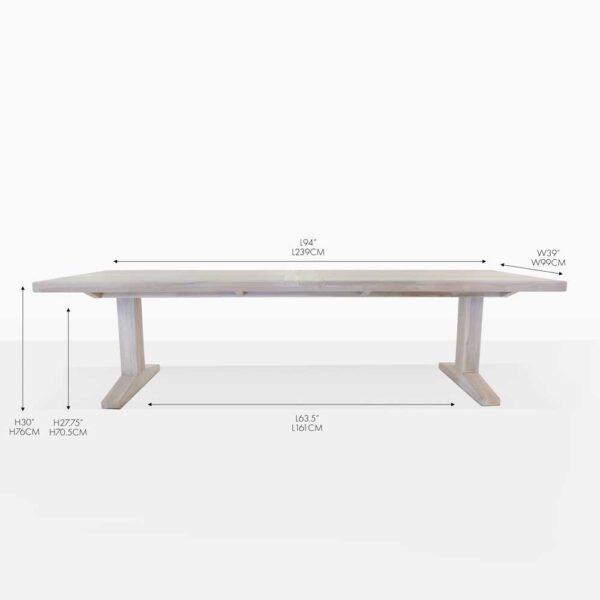 sherman teak rectangular outdoor dining table