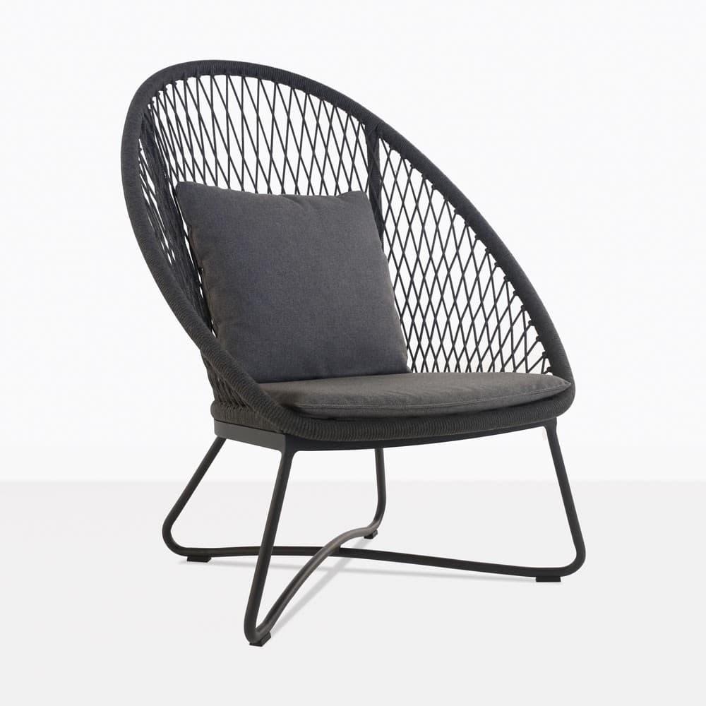 Zaha Outdoor Lounge Chair High Back Cross Weave Teak