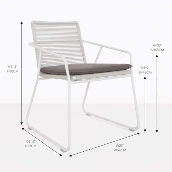 pierre white wicker outdoor dining armchair