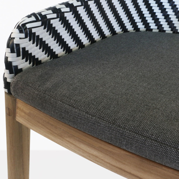 Bugg Teak and Wicker Dining Chair Closeup