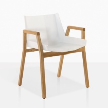 Elements Teak And Aluminum Dining Arm Chair