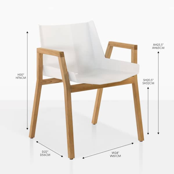 Elements white teak and aluminum dining arm chair