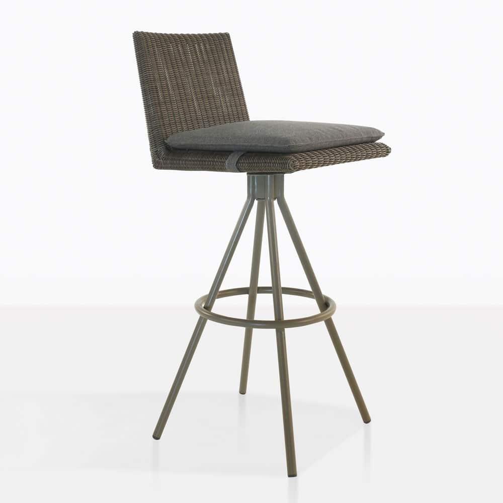 Loop Swivel Stool Mud Grey Outdoor Bar Furniture Teak Warehouse