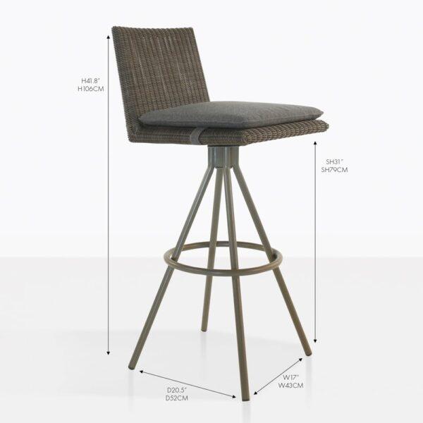 loop wicker grey bar stool