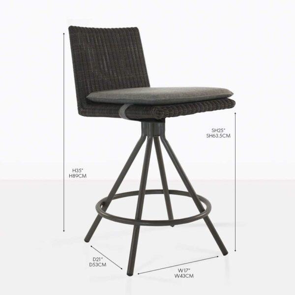 loop wicker counter stool black